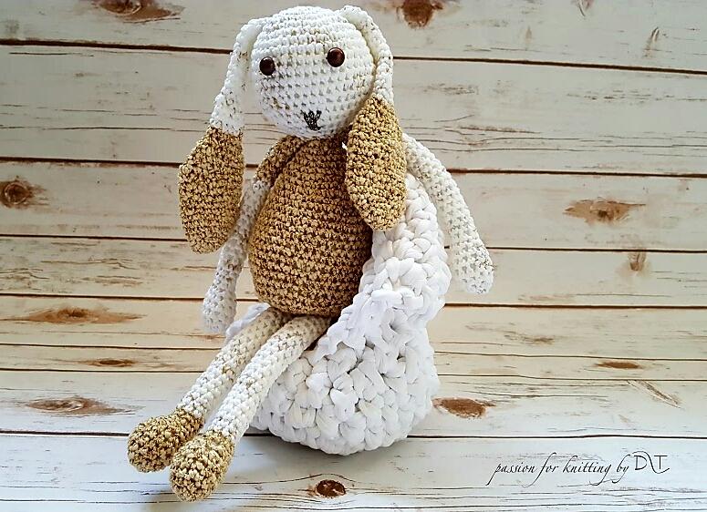 Crochet handmade glitter yellow Bunny