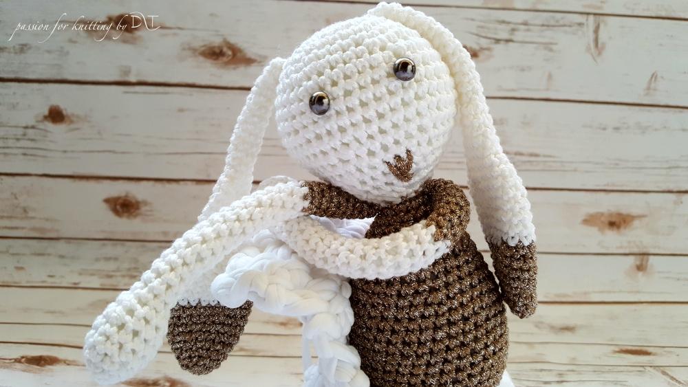 Crochet handmade glitter brown Bunny